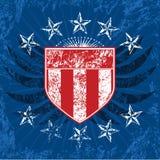 Protetor branco & azul vermelho de Grunge ilustração stock