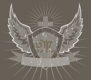 Protetor com asas e cruz ilustração stock