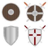 Protetor, protetor com espadas, um grupo de protetores medievais e espadas Fotos de Stock