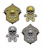 Protetor com vetor eps8 do crânio e dos ossos Imagem de Stock