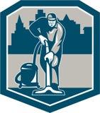Protetor da limpeza de Cleaner Vacuum Carpet do guarda de serviço ilustração stock