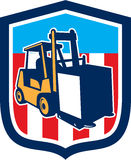 Protetor da logística dos materiais do caminhão de empilhadeira retro ilustração do vetor