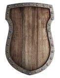 Protetor de madeira medieval da brasão isolado Foto de Stock Royalty Free