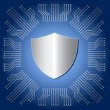 Protetor de prata no fundo azul do circuito do prato principal Imagem de Stock Royalty Free