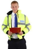 Protetor de segurança com uma prancheta Fotos de Stock Royalty Free