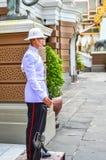 Protetor do suporte do soldado sobre o palácio na entrada ao real Imagens de Stock