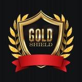 Protetor dourado com Laurel Wreath And Red Ribbon Ilustração do vetor ilustração royalty free