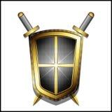 Protetor dourado e duas espadas cruzadas Fotografia de Stock Royalty Free