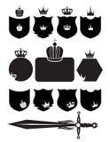 Protetor, espada e coroa ilustração do vetor