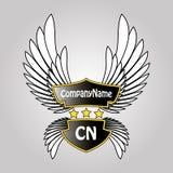 Protetor, estrelas e asas abstratos do logotipo Foto de Stock