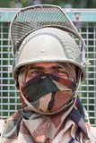 Protetor indiano da fronteira Ponto de verificação do exército em Himalayas de Kashmir Srinagar, Índia Fotografia de Stock Royalty Free