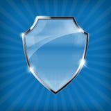 Protetor lustroso da segurança no fundo azul ilustração do vetor