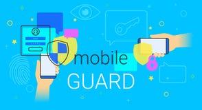 Protetor móvel app na ilustração do conceito do smartphone Imagem de Stock
