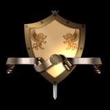 Protetor medieval com a fita da espada e do ouro ilustração stock