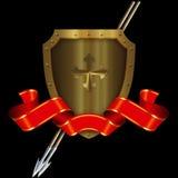 Protetor medieval do ouro com a fita transversal e vermelha Fotografia de Stock