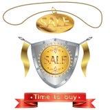 Protetor medieval e um medalhão com a VENDA da inscrição Fotos de Stock Royalty Free