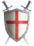 Protetor medieval velho e dois do cruzado cruzados Fotografia de Stock Royalty Free