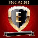 Protetor no ouro com fita Fotografia de Stock Royalty Free