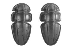 protetor plástico preto do joelho, kneepads, protetores do protetor, segurança para o corpo da proteção isolado no fundo branco fotos de stock