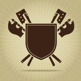 Protetor vazio do vintage com machados cruzados Fotografia de Stock Royalty Free
