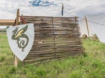 Protetor vermelho dos cavaleiros com a brasão da família na grama Fotos de Stock