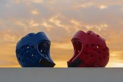 Protetor vermelho e azul da cabeça de Taekwondo Foto de Stock Royalty Free