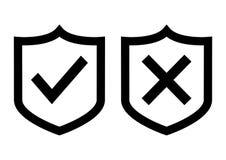 Protetores com marca e cruz de verificação Ilustração do vetor ilustração stock