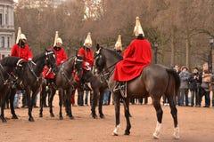 Protetores de cavalo durante a mudança do protetor Fotografia de Stock