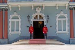 Protetores de palácio azuis de Cetinje fotos de stock