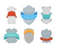 Protetores monocromáticos do vetor com fitas coloridas Fotos de Stock Royalty Free