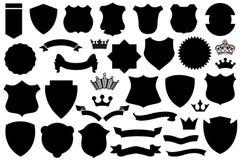 Protetores pretos grupo, teste padrão do protetor ilustração stock