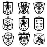 Protetores reais, grupo do vetor da brasão da heráldica da nobreza ilustração stock