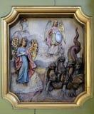 Protettore di Michael di arcangelo della donna apocalittica Fotografia Stock Libera da Diritti