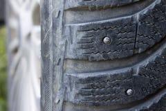 Protettore sulla fine della gomma fissata inverno su immagine stock libera da diritti