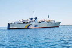 Proteus ferry, Alonissos. Anes Lines ferry Proteus arriving at Patitiri harbour on the Greek island of Alonissos on June 23, 2013. The 87.91mtr ship was built in stock photo