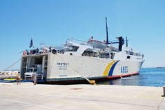 Proteus ferry, Patitiri harbour. Anes Lines ferry Proteus moored at Patitiri harbour on the Greek island of Alonissos on June 23, 2013. The 87.91mtr ship was stock images