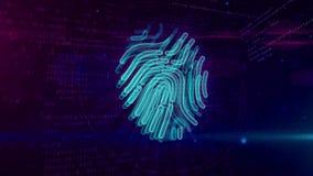 Protezione cyber dall'impronta digitale su fondo digitale illustrazione vettoriale