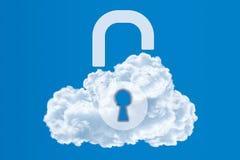 Protezione dei dati, concetto di calcolo di sicurezza della nuvola Fotografie Stock