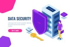 Protezione dei dati isometrica, icona della base di dati con lo schermo e chiave, serratura di dati, supporto personale di sicure illustrazione di stock