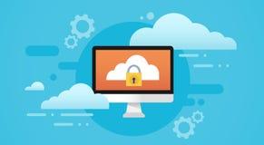 Protezione dei dati personali dello schermo della serratura della base di dati della nuvola del computer illustrazione vettoriale