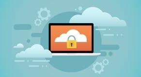 Protezione dei dati personali dello schermo della serratura della base di dati della nuvola del computer portatile illustrazione vettoriale