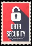 Protezione dei dati su rosso nella progettazione piana. Fotografia Stock Libera da Diritti