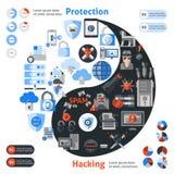 Protezione del pirata informatico infographic Fotografie Stock Libere da Diritti