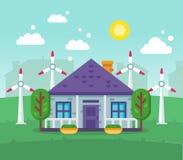 Protezione dell'ambiente Citt? pulita, bacini idrici, paesaggio, risorse alternative illustrazione di stock