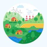 Protezione dell'ambiente Pulisca la città, i paesaggi, la produzione wasteless, le fabbriche, mulini a vento illustrazione di stock
