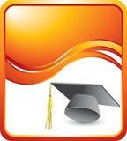 Protezione e nappa di graduazione sull'onda arancione Immagini Stock Libere da Diritti