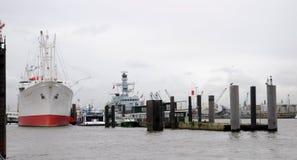 Protezione San Diego nel porto di Amburgo Fotografie Stock Libere da Diritti