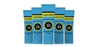 Protezione solare, lozione di protezione del sole isolata su fondo bianco, vista frontale illustrazione 3D illustrazione di stock