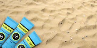 Protezione solare, lozione di protezione del sole sul fondo della spiaggia sabbiosa, spazio della copia illustrazione 3D royalty illustrazione gratis