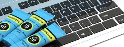 Protezione solare, lozione di protezione del sole sulla tastiera di computer illustrazione 3D illustrazione vettoriale
